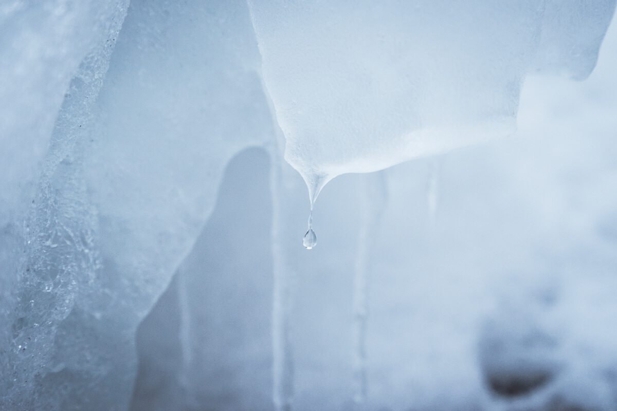 detailed structure of ice with a waterdrop