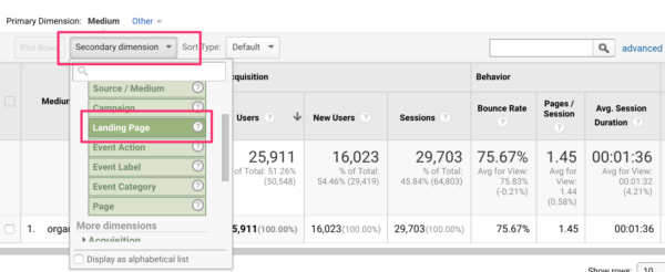Adding landing page to organic report in Google Analytics