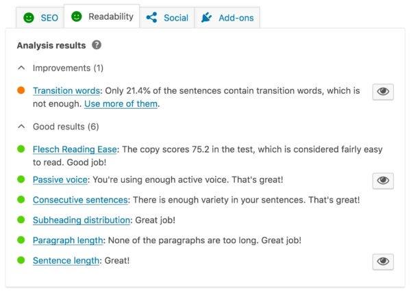 The readability checks in Yoast sEO
