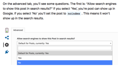 setting a post to noindex with Yoast SEO