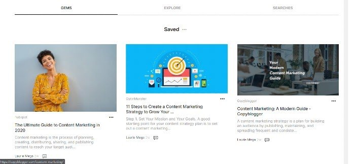 Google Keen Curated Content for Marketing