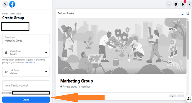 Step #2 to create a Facebook group