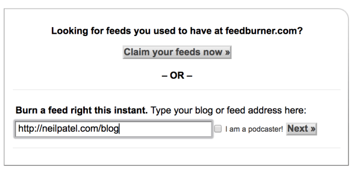 feedburnder set up an RSS feed to get website indexed