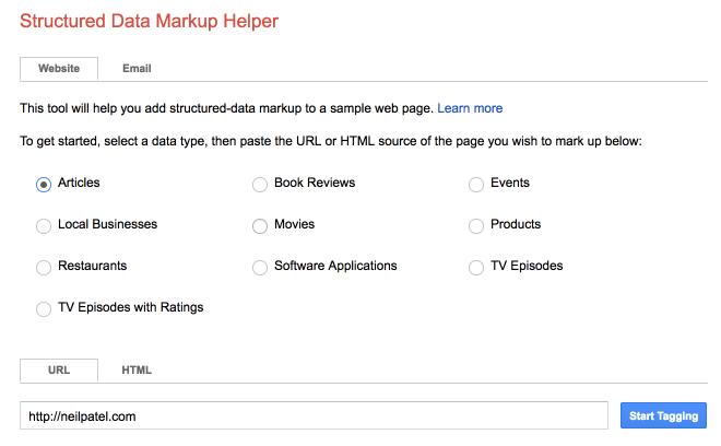 structured data mark up helper website index guide