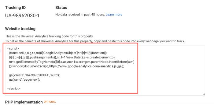 install google analytics to index website