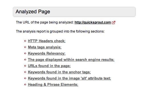 analyzed page free seo tool