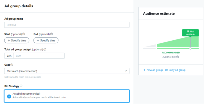 Enter your ad group details to continue setting up your Twitter advertising campaign.