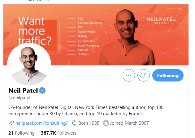 neil patel screenshot use twitter to grow your business