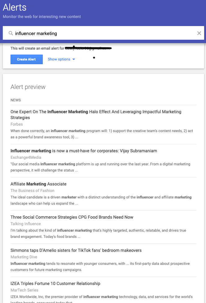 influencer marketing - google alerts