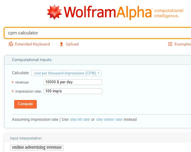 Wolfram Alpha CPM Calculator