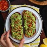 Avocado Toast on a white plate
