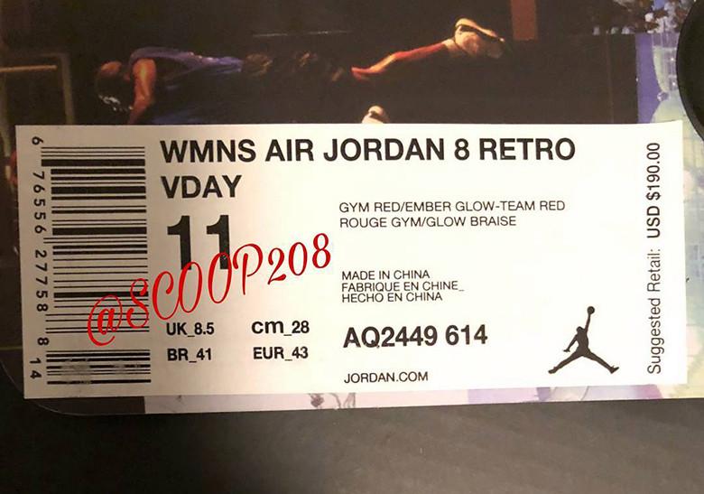 Air Jordan 8 Valentines Day WMNS AQ2449 614 First Look