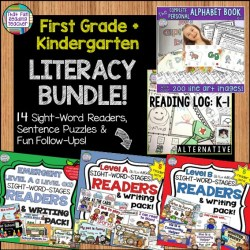 This kindergarten and first grade literacy bundle has 14 Sight Word Reader, sentence puzzle and fun follow-ups sets, The Complete Personal Alphabet Book Kit with over 200 line art images, and a fun and flexible Reading Log alternative for the K-1 crowd! $