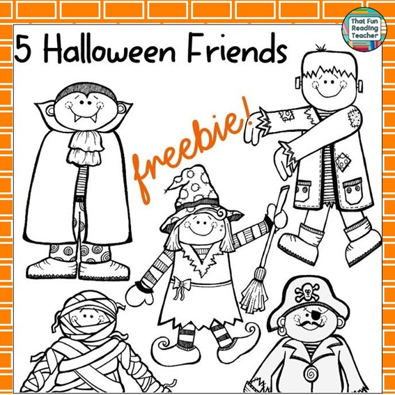 5 Halloween Friends Free Cutouts