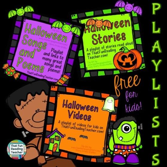 Halloween playlists for kids, FREE on ThatFunReadingTeacher.com!