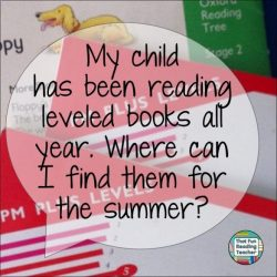 """My child has been reading leveled books all year. Where can I find them for the summer?"""