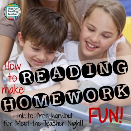 How to make reading homework fun by That Fun Reading Teacher