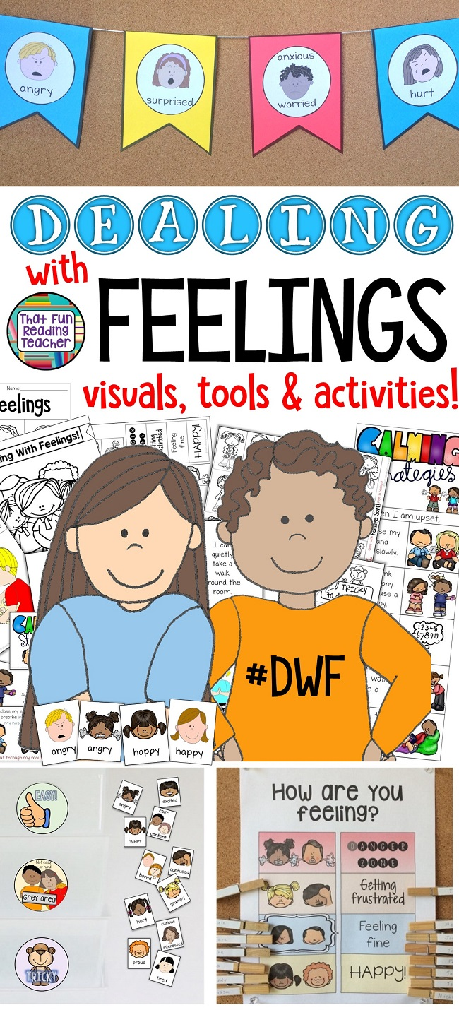 Feelings visuals, tools and activities for teaching kids about their emotions! If you're a fan of the #DealingWithFeelings storybook lessons, these are a great companion! #DWF #feelings #emotions #selfregulation #socialskills #classroommanagement #education
