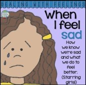 When I feel sad - Dealing With Feelings color and b&w printable story K-3 #DWF $
