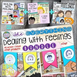 The Everything Dealing With Feelings bundle contains all DWF stories to date (and that will be published on TpT in the future) plus the visuals pack. There are links to specific stories in the product listing if you are interested in just one or two items. $ #teachingwithbooks #dealingwithfeelings #socialemotionallessons #feelingsbooksforkids #tpt