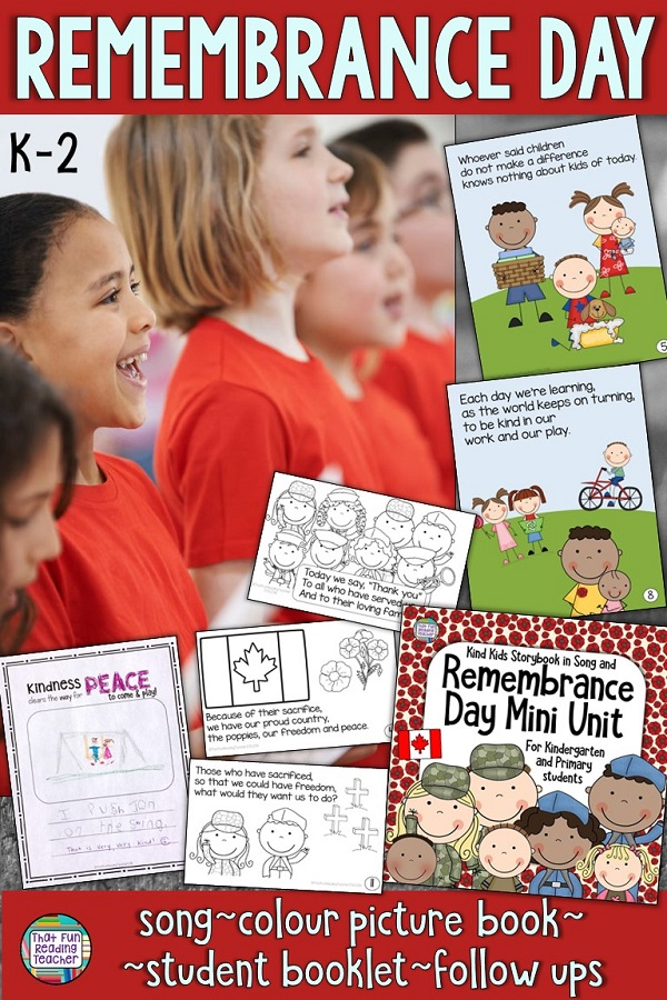 Remembrance Day Resource for primary, kindergarten - Color and line art song book, printables $ #RemembranceDay #primary #kindergarten #tpt #teacherspayteachers
