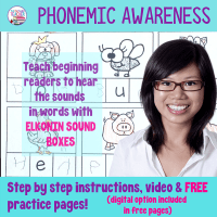 Phonemic awareness - hearing sounds in words with Elkonin sound boxes.
