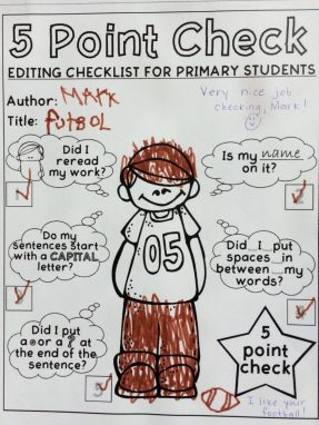 Example of That Fun Reading Teacher's free editing checklist (boy)