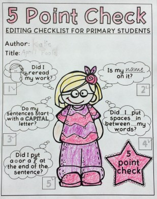 Example of That Fun Reading Teacher's free editing checklist (girl)