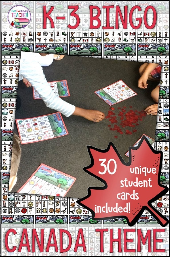 My kindergarten and primary students love playing BINGO, and it is a great way for them to learn more about Canada! 30 unique student cards featuring Canadian symbols, coins, animals, sports and landmarks!