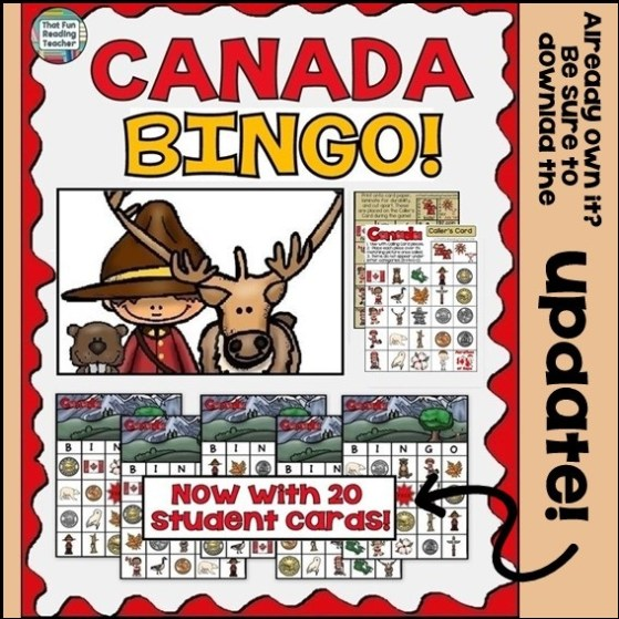 Canada BINGO by That Fun Reading Teacher