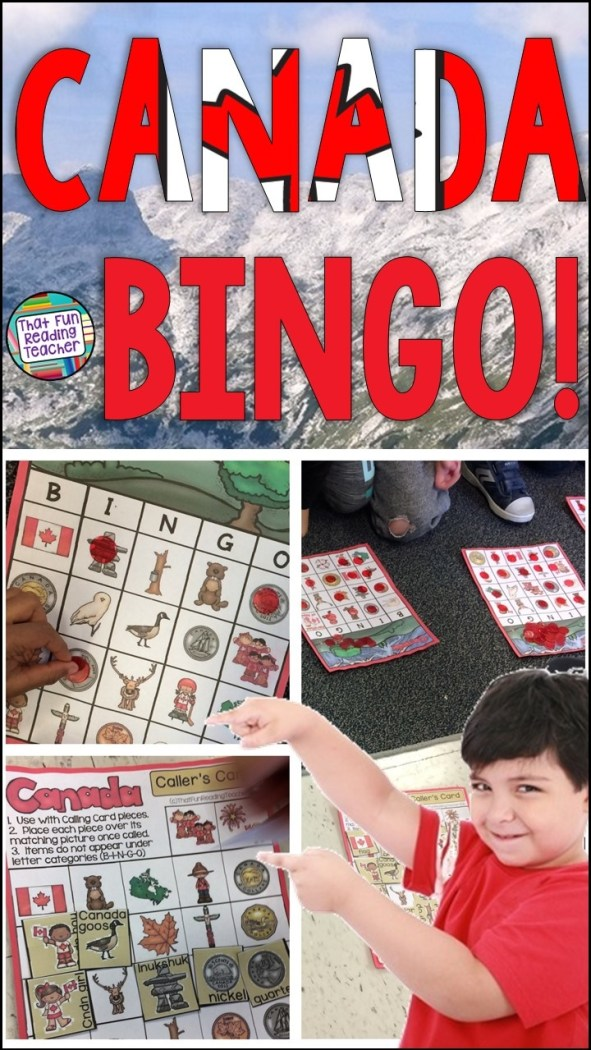 My primary students love this Canada BINGO game! Great activity for teaching kids about Canada, its' symbols, coins and more! 30 player cards included! $ #canada #bingo #kids #canadabingo #kidscanada #education