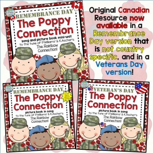 Poppy Connection Song Storybook Unit 3 versions! Remembrance Veterans Day $