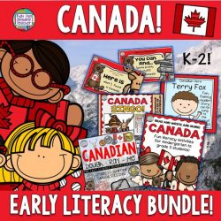 Fun literacy bundle for K-2 students learning about Canada's amazing people, symbols and coins in song - BINGO included! $