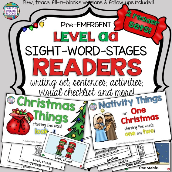 Christmas and Nativity themed PreEmergent Sight-word readers! Color and 3 line-art versions with sentence puzzles and follow-up fun! $ #Christmas #Nativity #preemergent #reading #sightwords #teaching #earlyliteracy #fun #kindergarten