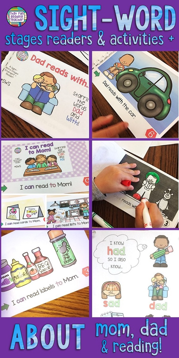 These sight-word-stages Level A/B readers about what kids can read to mom, and examples of Dad reading, are highly motivating for beginning readers! Students love to read the color copies in the classroom, and can practice writing sight-words in differentiated line art copies to take home. Click through for more details! $ #guidedreading #kindergarten #mothersday #fathersday #tpt #teacherspayteachers