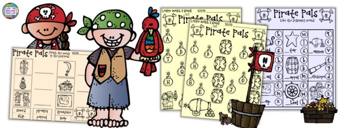 Pirate themed letter and word activities by That Fun Reading Teacher $