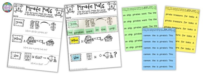 Pirate themed sentence puzzles by That Fun Reading Teacher!