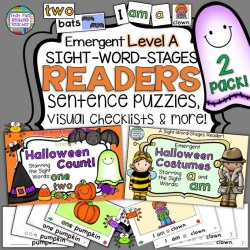 Halloween Level A Sight-Word Readers, Sentence puzzles and writing activities 2 pk