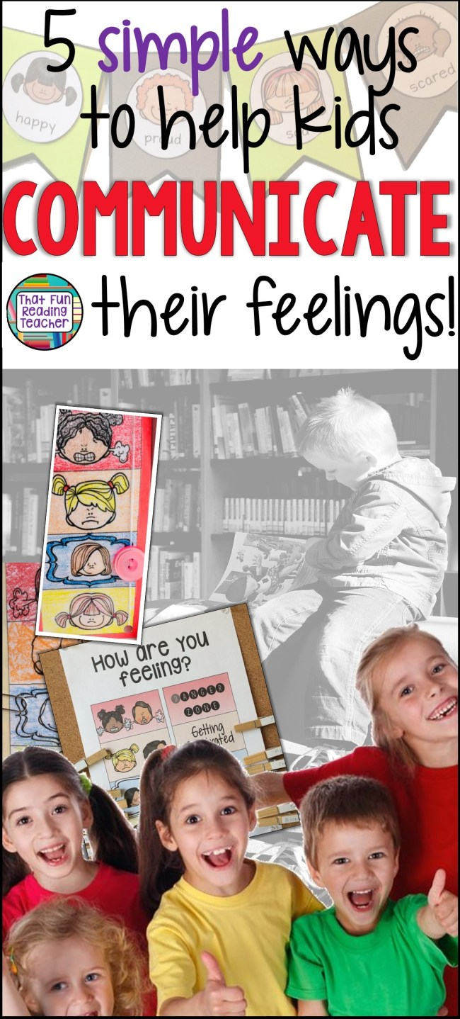 Helping kids communicate their feelings may sound uncomfortable at first, but is easier than you think! Here five simple ways help children express emotions - and they don't have to use expressive language at all! #feelings #regulateemotions #socialskills #specialeducation #kindergarten #iteachprimary