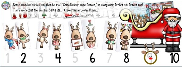 Counting by 2s with reindeer and song with the Big Christmas Bundle! $ #christmasliteracy #christmasmath #christmascrafts
