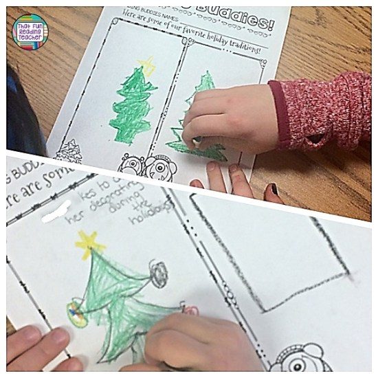 My kindergarten students read stories with their reading buddies about how different characters celebrate the holiday season. The buddies then compared their own holiday traditions and drew side-by-side pictures of them. $ #readingbuddyactivities #christmas #holidays #readingbuddies