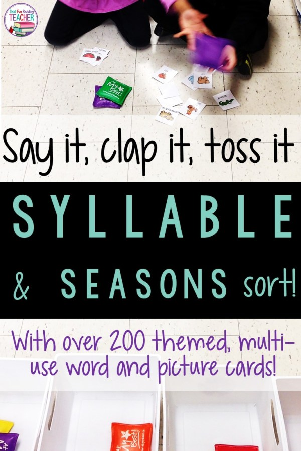 Kindergarten, 1st grade students sort by syllables and / or seasons with this fun bean bag game, Say it, clap it, toss it! $ #playbasedlearning #learnthroughplay #thatfunreadingteacher #tpt #earlylearning
