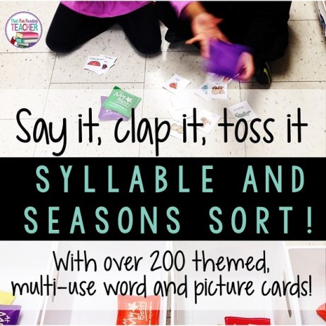 Kindergarten, 1st grade students sort words by syllables or (items / words by season) with fun bean bag game Say it, clap it, toss it! $ #playbasedlearning #learnthroughplay #thatfunreadingteacher #tpt #earlylearning