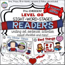 Winter and Valentine PreEmergent Readers and Activities $ #kindergarten #winter #valentinesday #earlyliteracy #earlylearning #sightwords