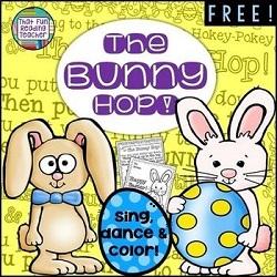 The Bunny Hop! Sing, dance and color to the tune of the Hokey Pokey! #Easterfun #easteractivity #kindergarten #tpt #teacherspayteachers