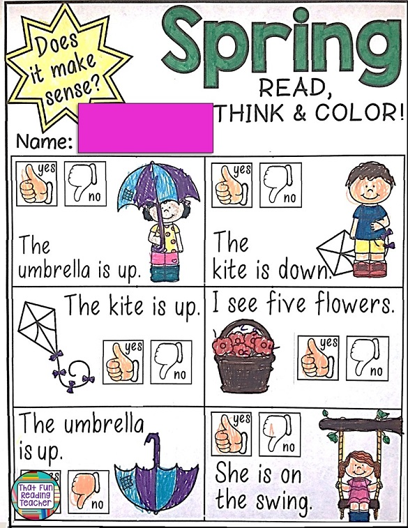 This page from my Spring Language activities is a fun way for kids to practice focusing on thinking about 'what makes sense' (meaning) while reading simple sentences. $ #readingcomprehension #reading #education #tpt #teacherspayteachers