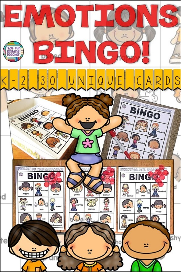 Emotions BINGO is fun way to teach K-2 students the vocabulary to name various feelings and how to recognize them by facial expressions! 30 unique game cards included, and decor for your iPad box! $ #feelings #BINGO #tpt #teacherspayteacher #dealingwithfeelings #dwf