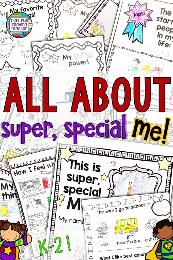 All about me - fun, no-prep printables for kindergarten, first grade, second grade students to share how super and special they are! $ #bts #allaboutme #kindergarten #primary #writing