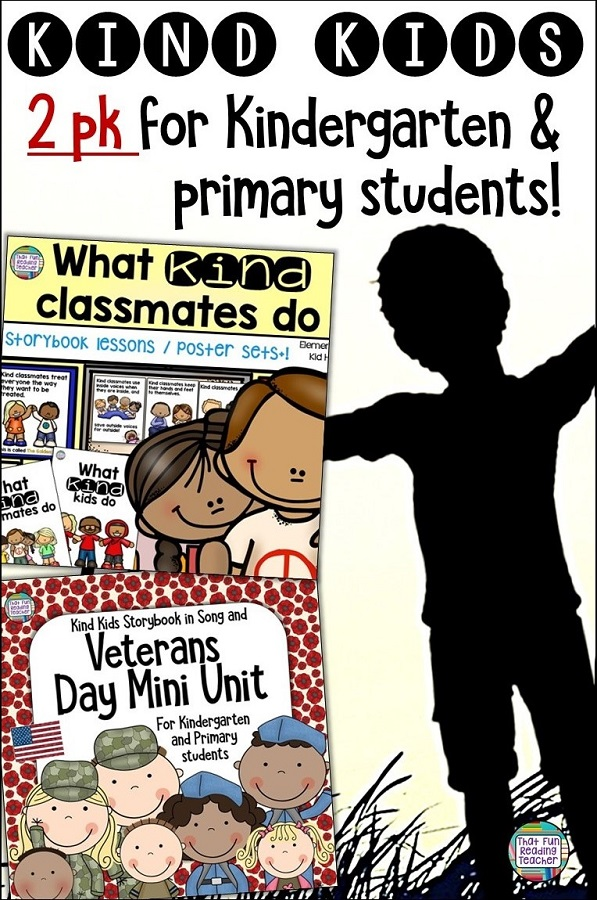 Teach kindness through stories, pictures, coloring, song and more with primary, kindergarten resources for #BTS and #VeteransDay ! $ #kindness #kindergarten #primary #teaching #tpt