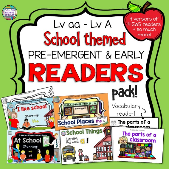5 School themed readers for kindergarten, first grade and ESL / ELL learners! $ #preemergentreader #vocabulary #ell #esl #kindergarten